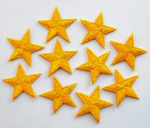 Yellow embroidered stars