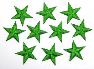 Green iron on stars