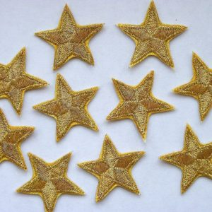 Gold stars - iron on - emboidered