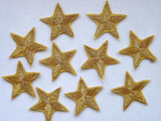 Gold iron on emboidered stars