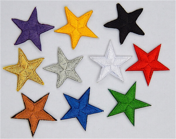 embriodered stars iron on applique colours