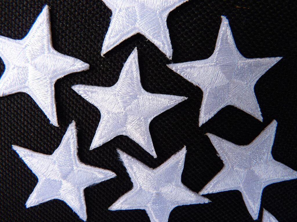 White embroidered stars pretty stars