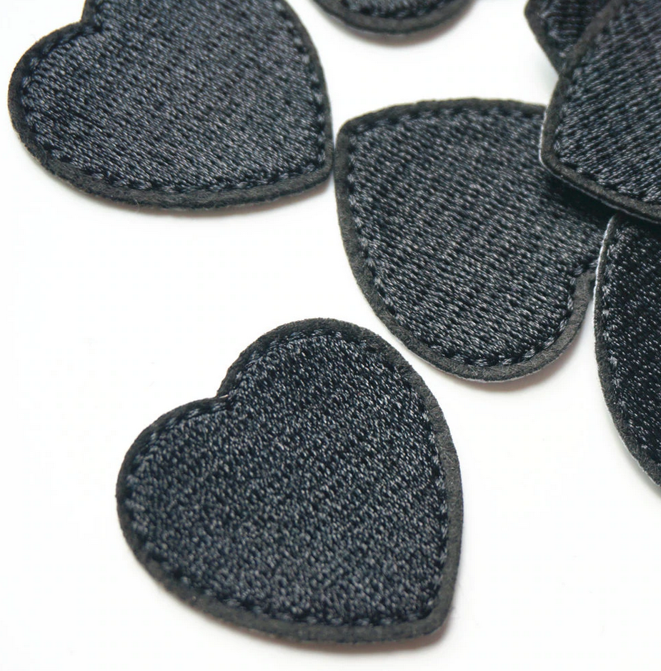 Black iron on heart patches